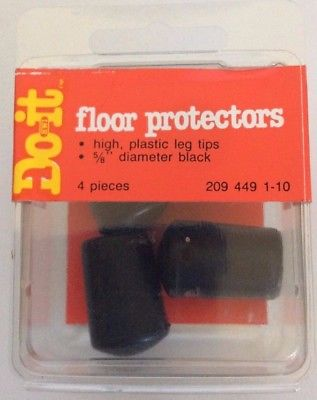 Do-it Floor Plastic Leg Tips Protectors, Set of 4, Black