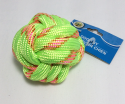 Dog Rope Ball, Dog Toy - Bright Green