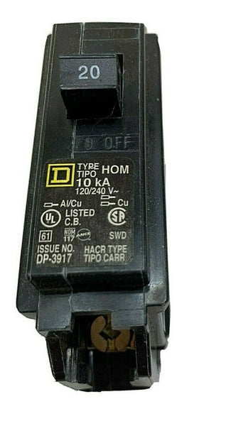 Homeline 20 Amp Single-Pole Circuit Breaker Square D