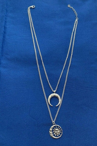 Moon & Sun Layered Chain Necklace Silver