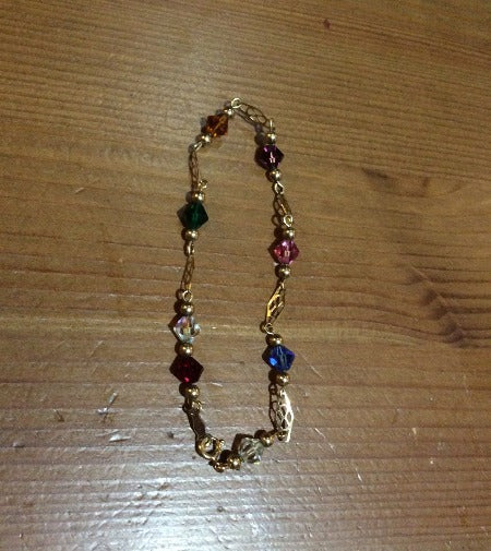 Gold Bracelet - 14kt Multi Color Stones