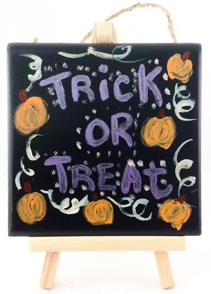 Halloween Trick or Treat Decorative Tile - Handmade