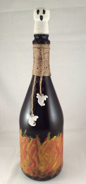 Halloween Wine Bottle - Hand Painted