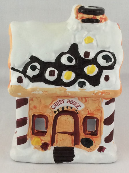 Holiday Village Hand-Painted Ceramic Candle Holder - Candy House