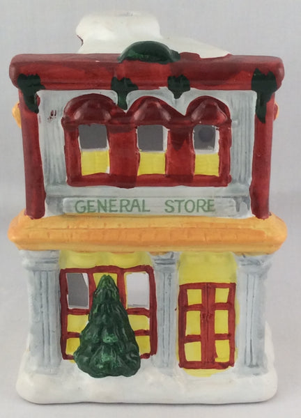Holiday Village Hand-Painted Ceramic Candle Holder - General Store