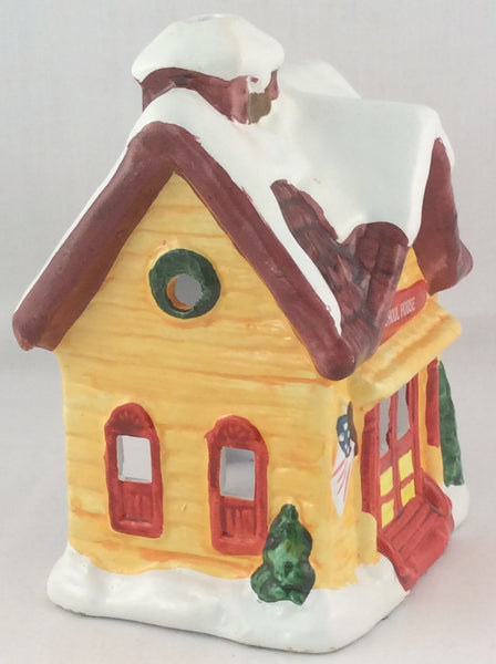 Holiday Village Hand-Painted Ceramic Candle Holder - School House