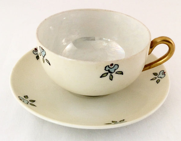 Tea Cup And Saucer - Hand Painted White with Blue Flowers