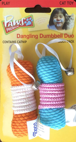 Paws Premium Dangling Dumbbell Duo - Cat Toy