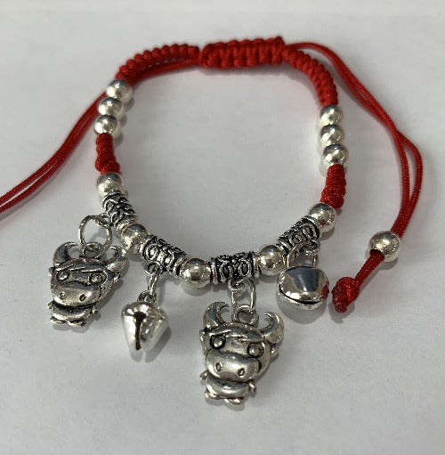Chinese Zodiac Signs Pendant Red String Bracelet - OX