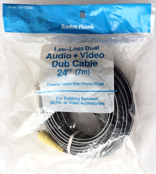 RadioShack Low-Loss Audio, Video Dub Cable 24 Ft (7m), Coaxial Cable With Phono Plugs