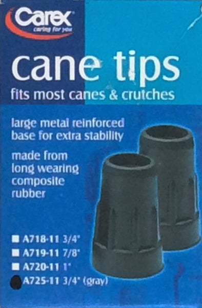 Carex Cane Tips, Set of 2 - Gray