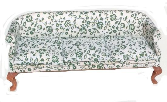 Miniature Queen Anne Sofa with 3 Cushions, Floral (Green)