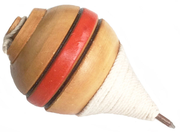 Authentic Ecuador Wood Spinning Top with Metal Tip (Trompo)