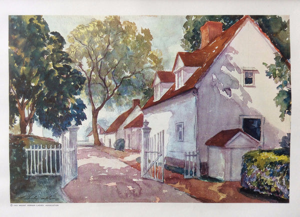 """The North Lane At Mount Vernon"" The Home of General Washington, Vintage Painting 1963"