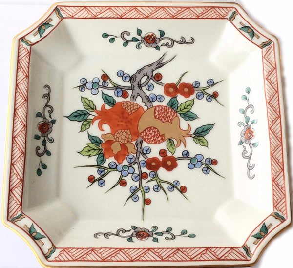 Hand Painted Chinese Square China Plate Decorative Fruit Tree