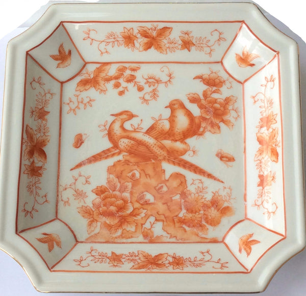 Hand Painted Chinese Square China Plate Decorative Birds