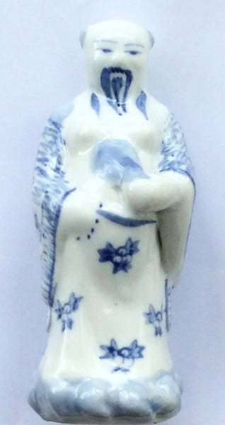 Porcelain Blue & White Glazed Chinese Monk Figurine