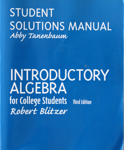 Students Solutions Manual - Introductory to Algebra for College Students Third Edition (Used)
