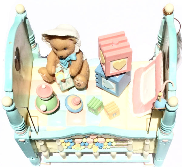 Enesco Music Box Crib Brahms Lullaby - 1997 Priscilla Hillman