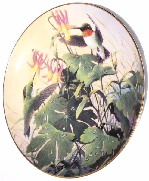 """Morning Visitors"" Ruby-Throated Hummingbirds By Artist Derk Hansen Collectible Plate"