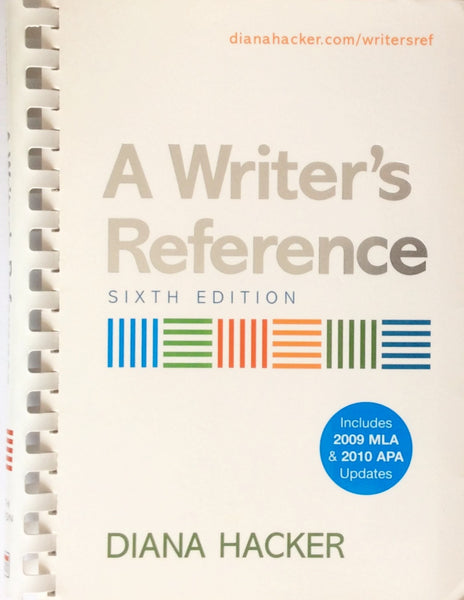 A Writer's Reference By Diana Hacker (2009, Paperback) (6th. Edition)