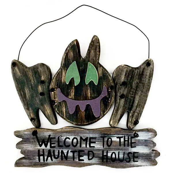 Halloween Wood Bat Sign