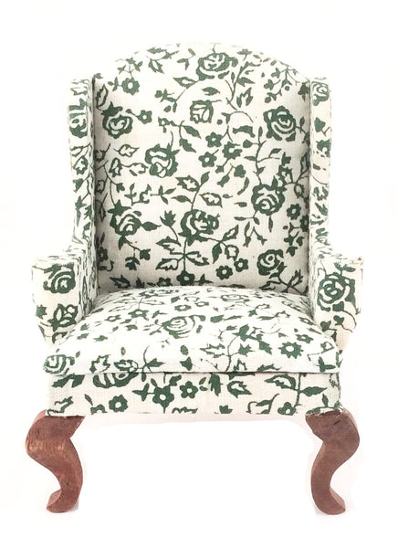Miniature Queen Anne High Back Chair Floral (Green)