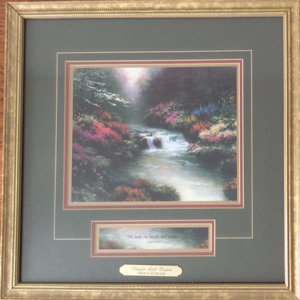 "Thomas Kinkade ""Beside Still Waters"" Framed Painting, Vintage 1996"