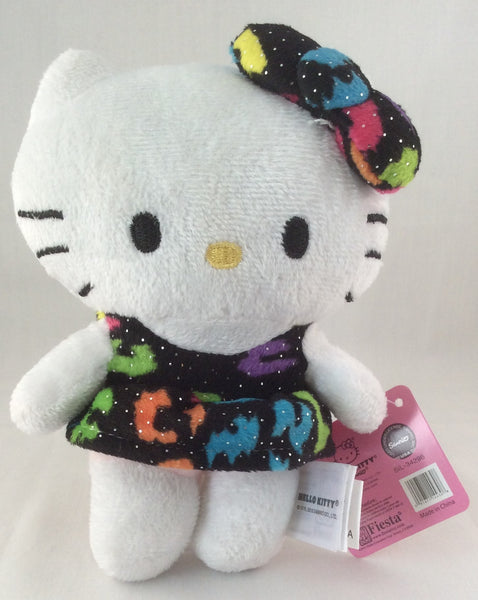 "Hello Kitty Plush 6"" Wearing Black Dress with Glitter by Sanrio 2015"