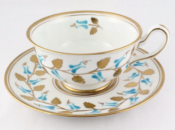 New Chelsea Staffs Cup And Saucer - Aqua Enamel Gold Leaves