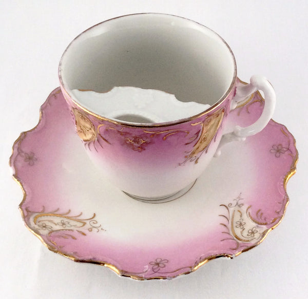 Tea Cup And Saucer - Hand Painted in Soft Pink with Gold Accents