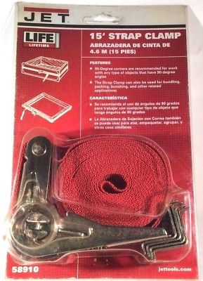"Jet Tools 15"" Strap Clamp, No. 58910, Red Strap"