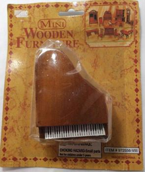 Mini Wooden Furniture, Mini Piano No. 972556-VIII, Miniature Collectible Furniture, Walnut Piano