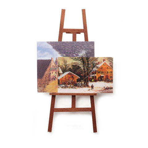 Miniature Artist Easel with Paintings 5 inches