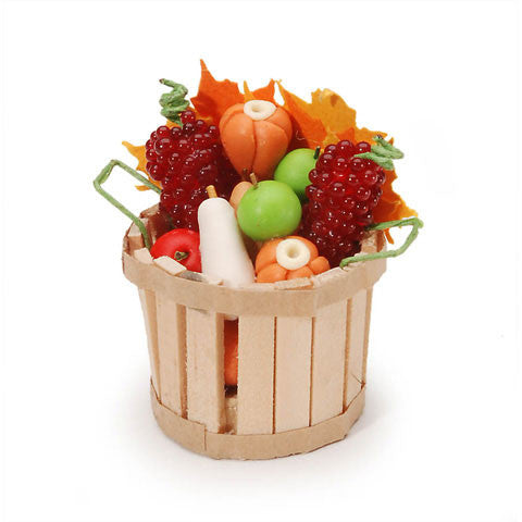 Timeless Minis - Miniature - Fall Basket with Fruit & Vegetables - 1 inch - 1 set