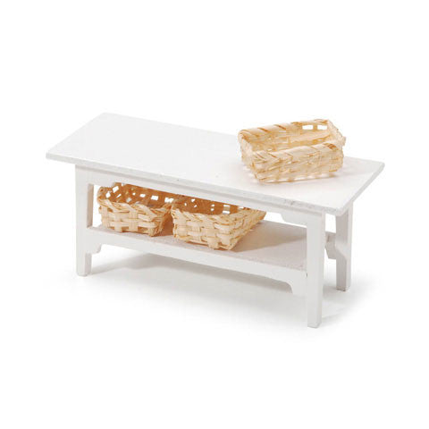 Miniature - White Side Table - 4.5 x 2.x 1.75 inches - 1 set