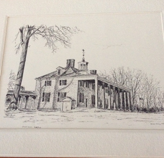 Vintage Mount Vernon East Front Lithograph 1972, Bulent Atalay 1972 Lithograph