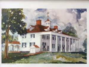 Mount Vernon, The Home of General Washington, Vintage Painting 1937