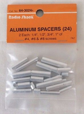 RadioShack Aluminum Spacers, Round, No. 64-3024A, Set of 24
