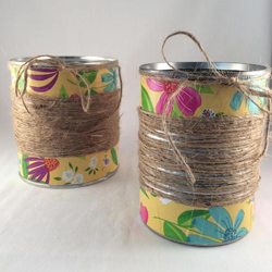Summer Flower Vase Tin Can, Hand Wrapped in Twine