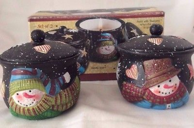 Susan Winget Crock Candles, Set of 2, Hand Painted, Christmas Snowman