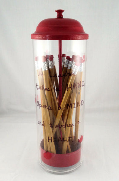 Teacher Pencil Holder With Quote- Hand-Painted