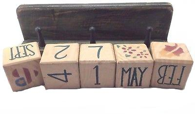 Terry's Village Wood Block Calendar With Shelf, Distressed Green