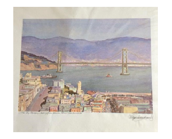 The Bay Bridge Watercolor by Floyd Hildebrand