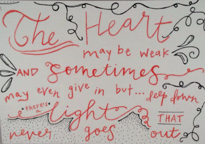"Inspirational Quote ""The Heart"", Hand Painted by Casai Prints"