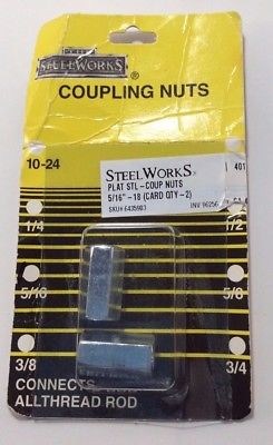 "The SteelWorks Coupling Nuts 10-24 5/16"", Set of 2"