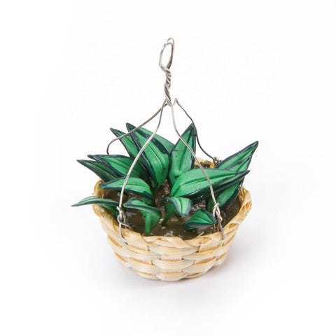 Timeless Minis - Handmade Boston Fern Hanging Basket - 1.25 x 2 inches