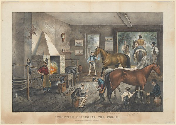 """Trotting Cracks"" At The Forge, Currier & Ives Colored Lithograph 1964-1965"