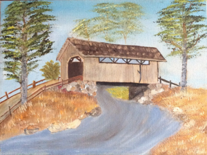 "Vintage 1993 Covered Bridge Oil Canvas Painting 9"" x 12"""
