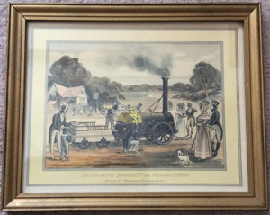 "Antique Locomotive Engine, ""The Rocket"" 1830 Coloured Lithograph - Framed"